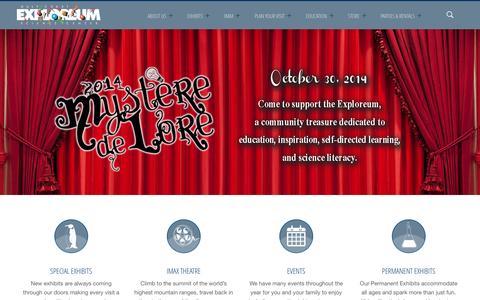 Screenshot of Home Page exploreum.com - Exploreum | Gulf Coast Science Center - captured Oct. 3, 2014