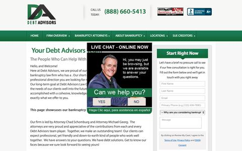 Screenshot of Team Page mydebtadvisors.com - Bankruptcy Team Here To Help You | Debt Advisors Law Offices - captured Oct. 8, 2018