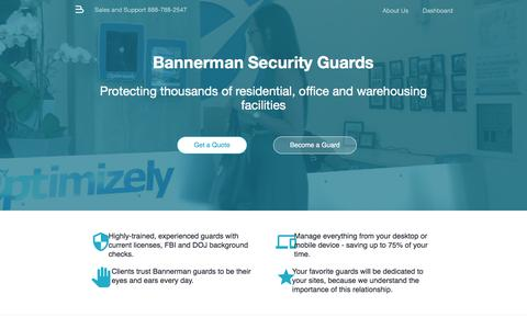 Screenshot of Home Page bannerman.com - Security Guard Services - Bannerman - captured Dec. 16, 2016