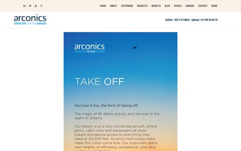 Screenshot of About Page arconics.com - Airline Software, Our Vision of the Connected Aircraft Platform - captured Dec. 26, 2015