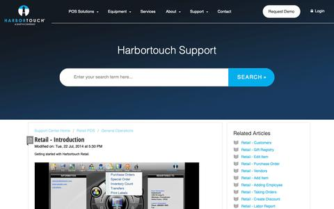 Screenshot of Support Page harbortouch.com - Retail - Introduction : Harbortouch Support Center - captured Oct. 9, 2018