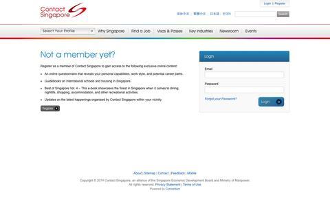 Screenshot of Login Page contactsingapore.sg - Login to My Dashboard - Contact Singapore - captured Sept. 23, 2014