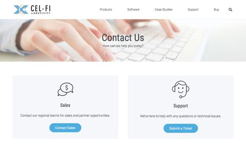 Screenshot of Contact Page cel-fi.com - Contact Us – Cel-Fi - captured Aug. 22, 2019