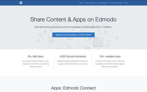 Screenshot of Developers Page edmodo.com - Edmodo Developers & Publishers - captured June 13, 2019