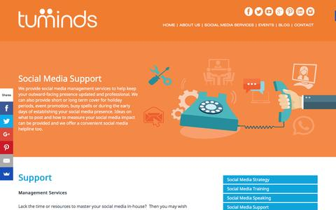 Screenshot of Support Page tuminds.com - Social Media Support - Tuminds Social Media training ScotlandTuminds Social Media training Scotland - captured Feb. 22, 2016