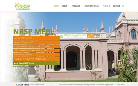 Screenshot of Home Page nrspbank.com - NRSP - Microfinance Bank Limited | Pakistan - captured Feb. 15, 2016