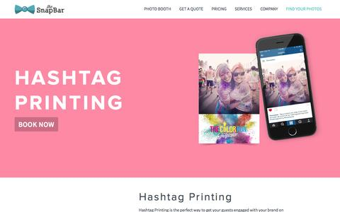 Screenshot of Services Page thesnapbar.com - Hashtag Printing | The SnapBar | Photo Booth Rentals in Seattle and Portland - captured Aug. 15, 2016