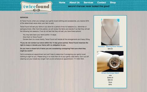 Screenshot of Services Page twice-found.com - Services | Twice Found - captured Dec. 3, 2016