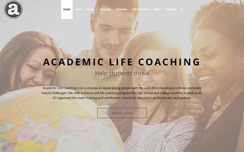 Screenshot of Home Page academiclifecoaching.com - Academic Life Coaching & Life Coach Training for Teens - captured Oct. 1, 2015