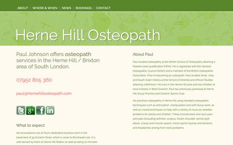 Screenshot of Home Page About Page Contact Page Press Page Maps & Directions Page hernehillosteopath.com - Paul Johnson Osteopath   Herne Hill SE24 Dulwich SE21 SE22 - captured Nov. 5, 2018