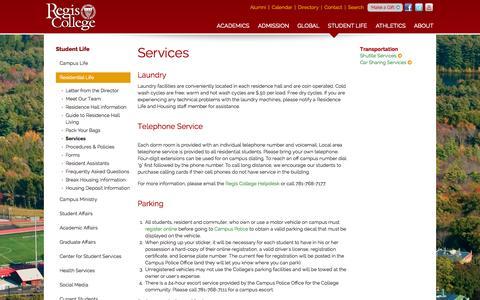 Screenshot of Services Page regiscollege.edu - Regis College Residential Life: Services - captured Oct. 26, 2014