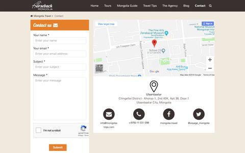 Screenshot of Contact Page mongolia-trips.com - Contact - Horseback Mongolia - captured Nov. 1, 2018