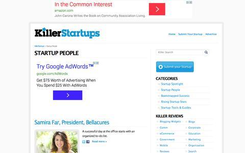 Screenshot of Team Page killerstartups.com - Startup People - KillerStartups.com - captured Oct. 29, 2014