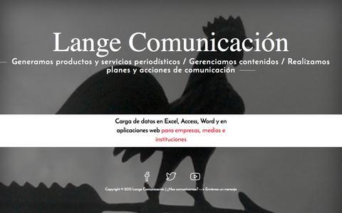 Screenshot of Home Page e-lange.com - Lange Comunicación - captured Sept. 22, 2015