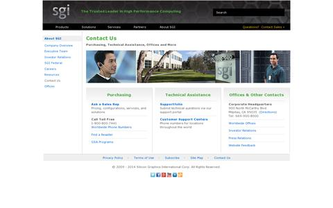 Screenshot of Contact Page sgi.com - SGI - Contact Us - captured July 18, 2014