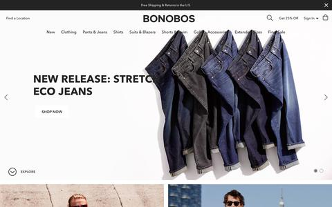 Screenshot of Home Page bonobos.com - Bonobos: Better Fitting, Better Looking Men's Clothing & Accessories - captured Aug. 20, 2019