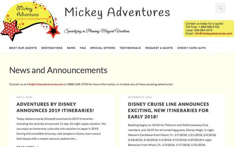 Screenshot of Press Page mickeyadventures.com - News and Announcements | Mickey Adventures - captured Sept. 20, 2018