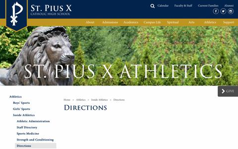 Screenshot of Maps & Directions Page spx.org - Directions | St. Pius X Catholic High School - captured Nov. 8, 2018