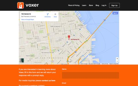 Screenshot of Contact Page voxer.com - Contact Us | Voxer Business - captured Sept. 17, 2014