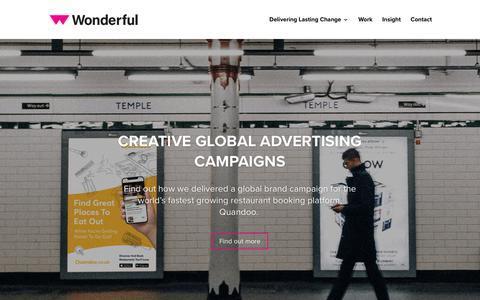 Screenshot of Home Page bewonderful.co.uk - Wonderful | Marketing Agency | Creative Agency | Wonderful Creative Agency - captured Feb. 3, 2019