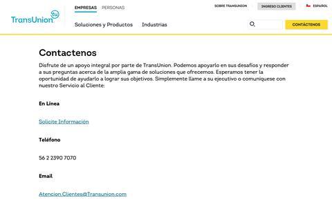 Screenshot of Support Page transunion.com - Soporte técnico | TransUnion Chile - captured Oct. 24, 2018