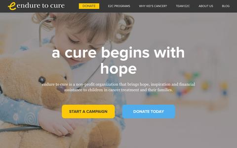 Screenshot of Home Page enduretocure.org - Endure to Cure | Helping Kids Beat Cancer - captured Oct. 3, 2015