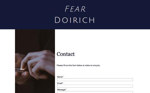 Screenshot of Contact Page feardoirich.co.uk - Contact - fear doirich - captured Aug. 12, 2018