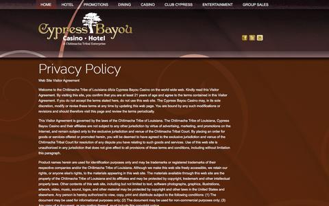 Screenshot of Privacy Page cypressbayou.com - Cypress Bayou Casino Hotel - captured Feb. 2, 2016