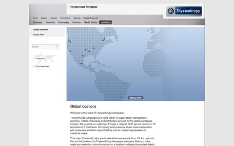 Screenshot of Locations Page thyssenkruppaerospace.com - Global locations-Locations- ThyssenKrupp Aerospace - captured Oct. 7, 2014