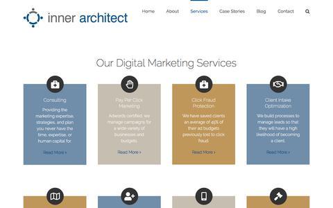 Screenshot of Services Page innerarchitect.com - Digital Marketing Services | Inner Architect | San Francisco Marketing - captured Sept. 19, 2018