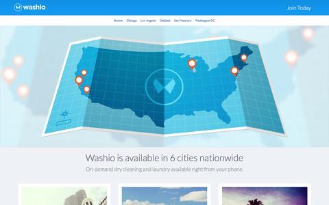 Screenshot of Locations Page getwashio.com - Washio - Locations - captured Jan. 12, 2016