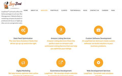 Screenshot of Services Page leapfeed.com - E-commerce Product Feed Management Services|product listing services - captured Sept. 27, 2018