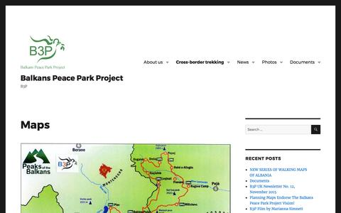 Screenshot of Maps & Directions Page wordpress.com - Maps – Balkans Peace Park Project - captured Feb. 20, 2017