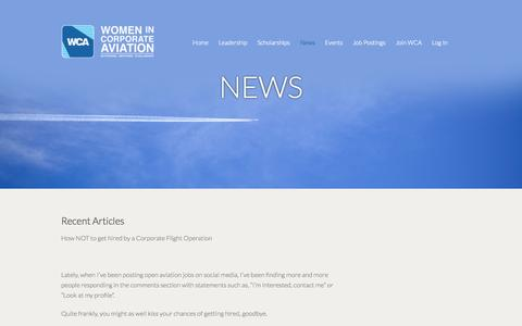 Screenshot of Press Page wca-intl.org - Women in Corporate Aviation » News - captured Oct. 7, 2014