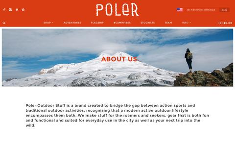 Screenshot of About Page polerstuff.com - About Us | Poler Stuff - captured Jan. 29, 2016