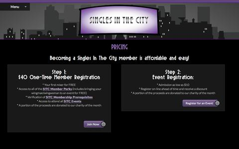 Screenshot of Pricing Page singlesinthecityvegas.com - Singles in the City Dating Pricing Options - captured Oct. 1, 2014