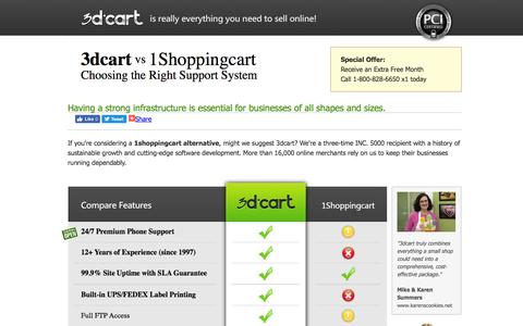 Screenshot of Landing Page 3dcart.com - 1Shoppingcart versus 3dCart. Complete Feature Comparison. - captured Aug. 18, 2016