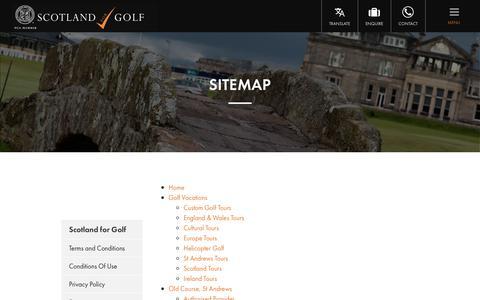 Screenshot of Site Map Page scotlandforgolf.co.uk - Sitemap | Scotland for Golf - captured July 28, 2018