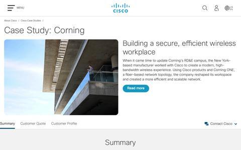 Screenshot of Case Studies Page cisco.com - Cisco Case Study: Corning - Cisco - captured May 10, 2019