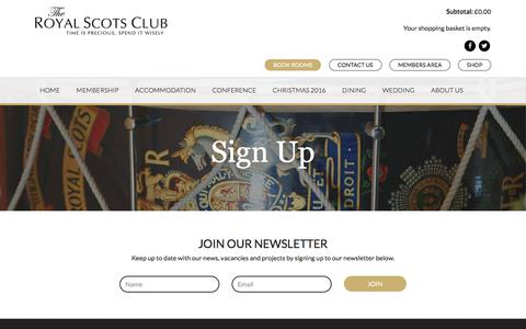 Screenshot of Signup Page royalscotsclub.com - Sign Up - The Royal Scots Club - captured Dec. 22, 2016