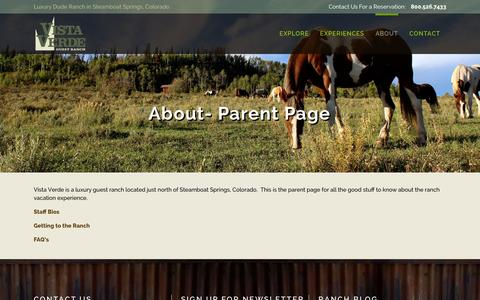 Screenshot of About Page vistaverde.com - About- Parent Page | Colorado Luxury Ranch Resort | Vista Verde Ranch - captured Jan. 23, 2016
