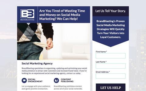 Screenshot of Landing Page brandblasting.com - Social Marketing Agency - BrandBlasting - captured Oct. 27, 2014
