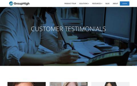 Screenshot of Testimonials Page grouphigh.com - Customer Testimonials - GroupHigh - captured Aug. 22, 2017