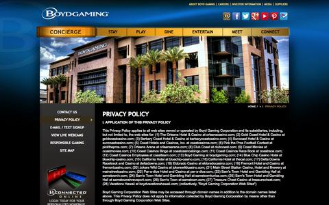 Screenshot of Privacy Page boydgaming.com - Boyd Gaming Corporation Privacy Policy | BoydGaming.com - captured Oct. 29, 2014