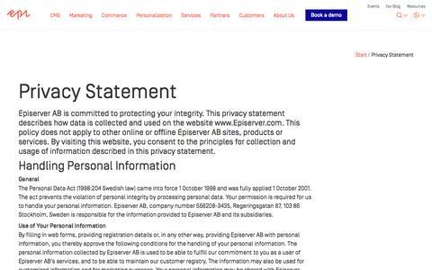 Privacy Statement - Episerver