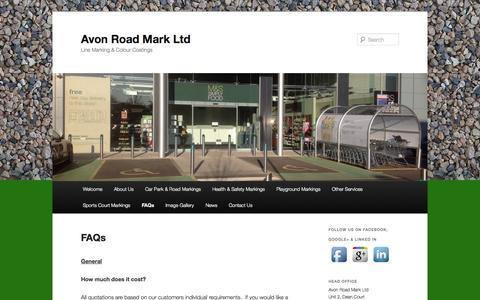 Screenshot of FAQ Page avonroadmark.co.uk - FAQs   Avon Road Mark Ltd - captured Oct. 4, 2014