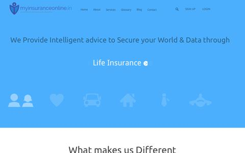 Screenshot of Home Page myinsuranceonline.in - My Insurance Online | Your World and Your Data Secured - captured Oct. 7, 2014
