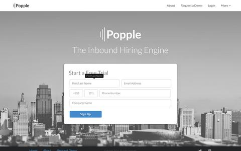 Screenshot of Trial Page popple.co - Start Your Free Trial - Popple | Inbound Recruitment Solutions - captured Sept. 30, 2014