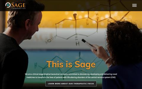Screenshot of Home Page sagerx.com - Clinical-Stage Biopharmaceutical Company for CNS Disorders | Sage Therapeutics - captured Nov. 12, 2018