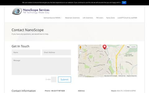 Screenshot of Contact Page nanoscopeservices.co.uk - Contact Us - NanoScope Services Ltd® - captured Nov. 3, 2014